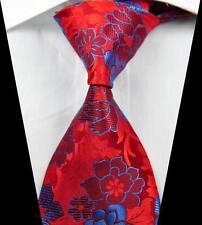 New Classic Florals Red Blue JACQUARD WOVEN 100% Silk Men's Tie Necktie