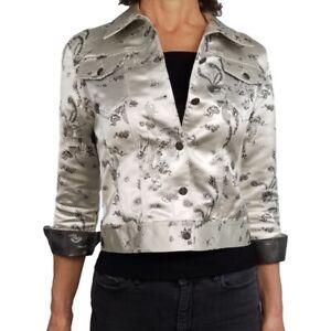 SAVION Sz PS* XS Fit Silver Gray Jacket Asian Dragons Pattern Jacquard Satin