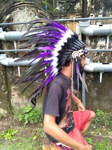 Headband Warbonnet Hat Feather Purple Small Native American Headdress Handmade