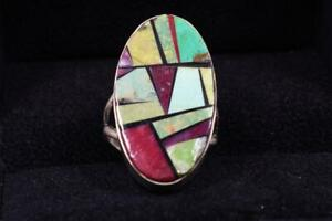 RAY JACK Multi-Stone Inlay Ring with Sterling Silver, NAVAJO, multiple turquoise