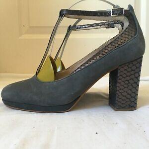 Clarks narrative shoes T bar grey metallic snake suede block heel 6 1/2D