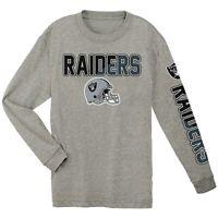 NFL Oakland Raiders Youth Boys Ash Gray Team Pride long sleeve shirt jersey