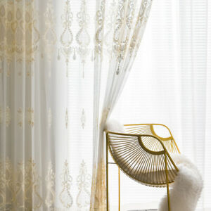 White Embroidery Tulle Curtain for Living Room Lace Voile Sheer Window Panel