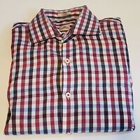 PETER MILLAR Men's Large Pink,  Blue Check Long Sleeve Button Front  Shirt 33-4