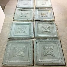 """Reclaimed Pressed Tin Ceiling Tiles~Lot of 8~24"""" Square~Metal~Green~Antique~#1"""