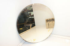 """VINTAGE ANTIQUE 15.5"""" ROUND FRAMELESS LEADED WALL MIRROR WOOD BACKING BARN FIND!"""