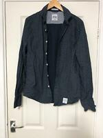 Superdry Navy Shirt Size Large L Mens Long Sleeve Great Condition (D535)