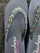 SKECHERS  Yoga Mat Comfort Rhinestone Sandal Size 6 Navy