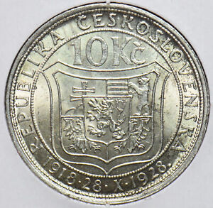 Czechoslovakia 1928 10 Korun Lion animal Bear 192554 combine shipping