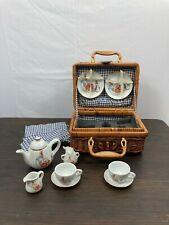 Beatrix Potter Peter Rabbit Mini Tea Set in Wicker Basket 1997 Reutter Porcelain