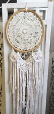 Boho Dreamcatcher Natural Cane with Crochet & Macrame Fringe - White