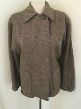 Vintage 80's Calvin Klein Brown Wool Tweed Coat Jacket Size 8 M Euc