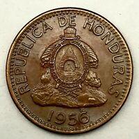 Honduras-1956- National Arms- 2 Centavos - Super GEM/BU- Bronze Coin. KM#78