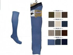 Mens Long Hose Socks 100% Cotton Knee High Ribbed Gold Style Aler