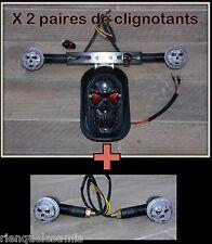 Feu stop Tête de Mort Skull + Support de plaque + 2 paires de clignotants Noir