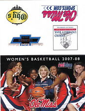 2007-08 UNIVERSITY OF MISSISSIPPI OLE MISS WOMENS BASKETBALL SCHEDULE - UNFOLDED