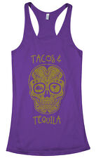 Threadrock Women's Tacos And Tequila Racerback Tank Top mexican party skull