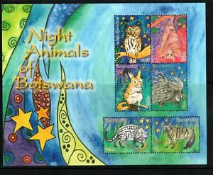 2010 Botswana  Night Animals set of 6 in  M/S UM