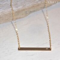 Stamped Initial Letter Name Gold Silver Rose Horizontal Bar Kendall Necklace