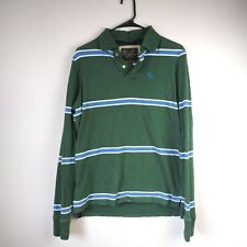 Abercrombie Fitch Mens Green Blue Striped Long Sleeve Rugby Muscle Polo Shirt S