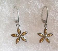 New Genuine Yellow Diamond & Sterling Silver Flower Earrings