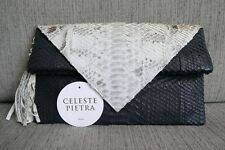 SALE! Almost New Auth.Celeste Pietra Clutch Python Gray Silver Skin Black Tassel