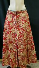 Liz Sport Cotton Floral Long Skirt Size 16 Red  Buttons front
