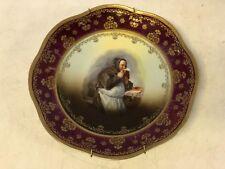 Antique Royal Vienna Bavaria Porcelain Monk Drinking Beer Decorative Plate