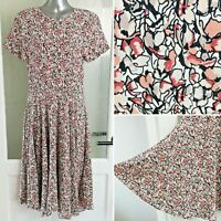 H&M Floral Dress 8 Fit & Flare Midi Unlined Cream Pink Short Sleeve Cottagecore