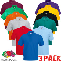 3 x Fruit Of The Loom MEN'S POLO SHIRT GOLF SHORT SLEEVE 15 COLOURS 3 PACK S-5XL