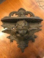 Vintage cast iron angel cherub wall sconce small plant shelf