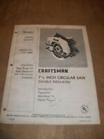 """SEAR CRAFTSMAN 7.5"""" CIRCULAR SAW DOUBLED INSULATED OWNERS MANUAL"""