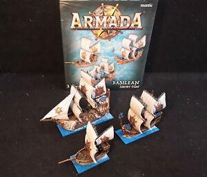 Basilean Starter Fleet Kings of War Armada well painted set (3 ships)