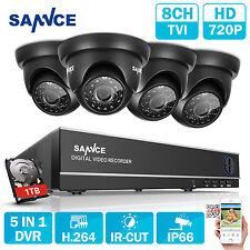 SANNCE 5in1 8CH 1080N DVR 1500TVL 720P TVI Security Camera 24IR Night Vision 1TB