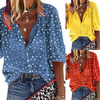 Women Summer Casual Short Sleeve T Shirt V-Neck Tops Floral Loose Blouse Holiday
