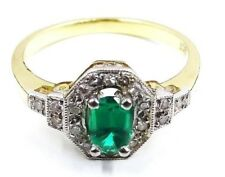 Truly Divine Yellow and White Gold Synthetic Emerald and Diamond Ring