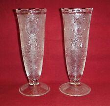 Jeannette Glass ~ Crystal Harp Vases