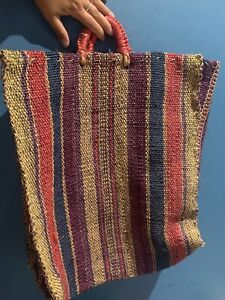 Straw Summer Holiday beach Shopping/ Summer Hand Bag Multi Coloured XXL VINTAGE