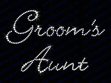 "Diamonte Hotfix Wedding Transfers Rhinestones iron on Motif "" Groom's Aunt "" -S1"
