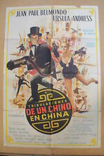 UP TO HIS EARS '65 Original ARGENTINE OS Movie Poster JEAN PAUL BELMONDO