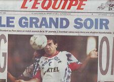 journal  l'equipe 18/12/92 FOOTBALL PARIS SG MARSEILLE BOXE BENICHOU