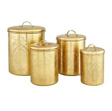 Old Dutch Tangier Champagne Etched Canisters Gold