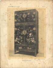 Stampa antica BUFFET MOBILE CINESE con FIORI CINA CHINA 1922 Antique print T. 9