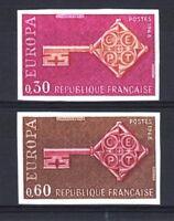 """FRANCE YVERT 1556/1557 SCOTT 1209-10 """" EUROPA 1968  2 STAMPS IMPERF """" MNH T125"""
