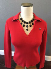 WOMENS RALPH LAUREN POLO JEANS SWEATER FLEECE RED FLAG SHIRT RED SMALL S COLLAR