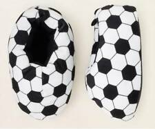 CHILDREN'S PLACE Boy Sports SOCCER BALL Black-White Plush Slippers 12-13 Yth NWT