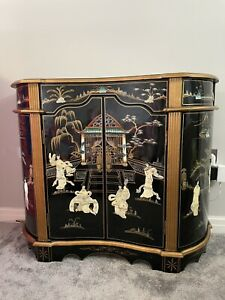 Antique Chinese Cabinet Chinoiserie Black Lacquered Gold Oriental Cupboard Pearl