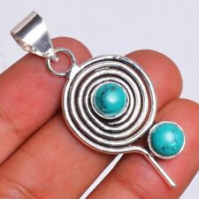 Turquoise  Gemstone 925 Sterling Silver Plated Handmade Pendant HP-486