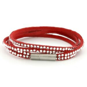 Womens Red Leather Beaded Bracelet, Girls Layer Stack Studded Wristband