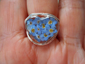 Sterling Silver Dried Blue flowers Forget me not  Ring adjustable